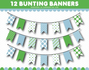 Green banner clipart, Green pennant clipart, Green bunting clipart, Green flags clipart, Green digital banner, Clip art banner, CL-1553