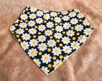 Flannel Bandana Bib - Reversible - Daisy/Yellow