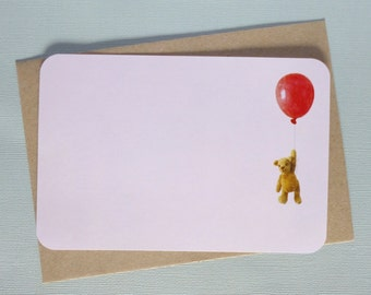 Floating Teddy Bear with Balloon Note Cards - Blank - with envelopes