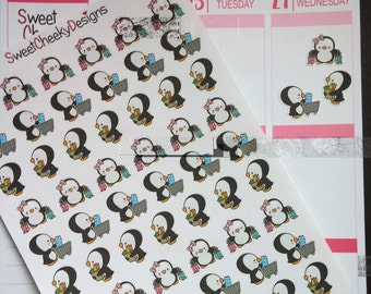 Cute Penguin Shopping Stickers!  Perfect for Erin Condren Life Planner, MAMBI/Happy Planner, Plum Planner, Etc.