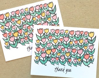 Thank You Card Set, Thank You Notes, Floral Thank You Cards, Tulip Cards, Thank You Card Flowers, Bride Thank You, Wedding Thank You Cards