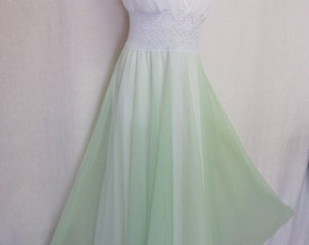 Mad Men Nightgown 1960s Seafoam Nightgown Chiffon Nightgown