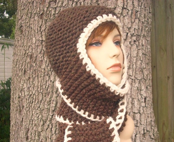 Knit Hat Womens Hat - Garter Nomad Scarf Hat in Wood Brown Knit Hat Brown Scarf Brown Hat Womens Accessories Winter Hat