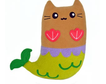 Purrmaid soft plush toy plushie pillow cushion novelty cat kitty mermaid siren sea creature handmade