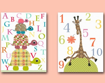 Numbers Nursery Alphabet Nursery Canvas Art for Children Kids Wall Art Baby Room Decor Baby Nursery Decor Baby Nursery print set of 2 /