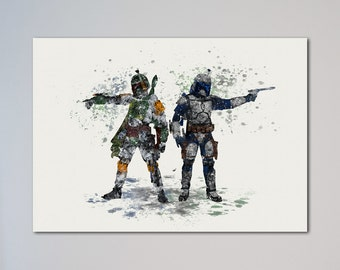 Boba Fett and Jango Fett Bounty Hunters Poster Watercolor Print
