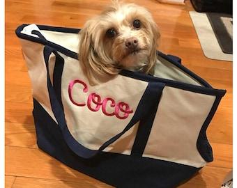 Personalized Pet Carrier | Monogram Pet Carrier | Canvas Tote Pet Carrier | Monogram Pet Tote | Personalized Pet Tote | Monogram Dog Carrier