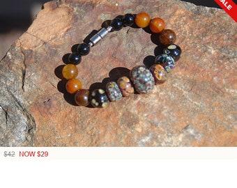 "Sale -  Unisex Lampwork and Black Onyx Bracelet - ""The Almond Tree"""