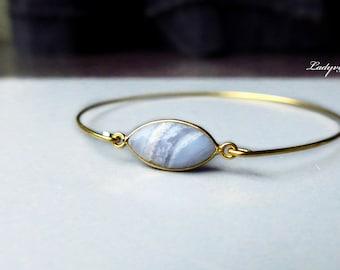 Bracelet Blue lace Agate Bezel Gold