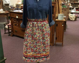 Vintage Floral Feedsack Apron approx 1940's