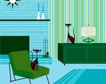 Geenie & Sacha 12x12 inch Giclee Art Print by Kerry Beary Mid-Century Modern Wall Decor Black Cats Atomic Mod