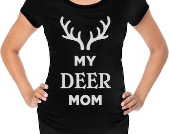 My Deer Mom Reindeer Antlers Christmas Maternity Shirt