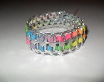 Upcycled Soda Can Tab & Zig Zag Ribbon Bracelet! Rainbow! Colorful and Fun!