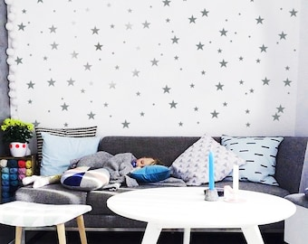3 Size Star Wall Decal / Star Decal / Silver stars decal / 120 Stars Pattern Wall Decal / Kids Room Decal / Nursery decal / Home Decor