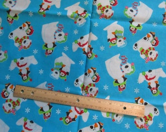 1.5 Yards/54 Inches Blue Polar Bear and Penguin Christmas Cotton Fabric