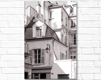 Paris Photography on Canvas - Marais Buildings, Gallery Wrapped Canvas, Large Wall Art, Black and White, Architectural Urban Home Decor