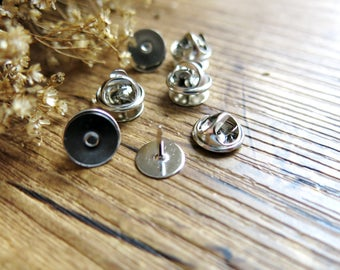 10 Tie Tacks Blank Pins with Clutch Back // Silver Color