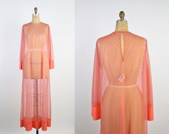 50s Ralph Montenero Coral sheer Robe / Pink Maxi Robe / Wedding Nightgown / Blanche Long Robe / One Size