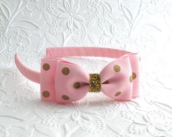 Pink and Gold Glitter Girls Bow Headband, Toddler Headband, Birthday Party Headband