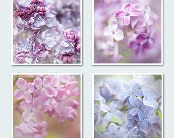 Lilac Floral Photography Set - Romantic Fine Art Photo Collection, Purple, Pink, Blue Wall Decor