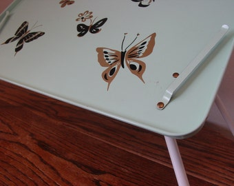 Breakfast Tray Mint green with Butterflies,TV Tray, Bed Tray, Craft Tray, Adjustable Tray. 1950s Reading Tray