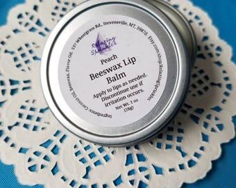 Beeswax Lip Balm- Peach- 1oz tin