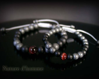 Bracelets father & son duo in onyx, hematite and Ref Tiger eye: BN 455