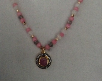 Pink Sapphire and Gemstone Necklace