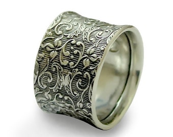 Sterling silver band, botanical band, wide ring, Men's and Women's band, woodland band, unisex band, floral band - Our life together  R1209S