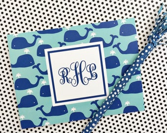 Whale Note Cards, Whale Stationery, Whales, Monogrammed Stationery, Personalized Note Cards, Personalized Stationery, Notecards