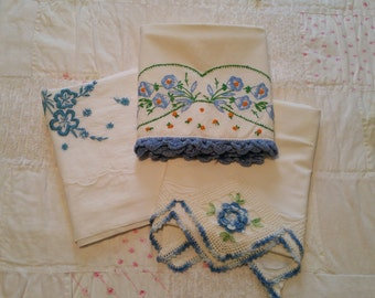 PC014 ~ Vintage pillowcases Blue crocheted Blue embroidery 3 singles Floral chic
