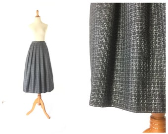 Pleated Skirt medium Skirt  Grey Skirt Size Grey Skirt Vintage 80s a line skirt charcoal Women's Bottom Skirts / Vintage Clothing Skirts