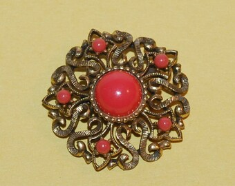 Elegant Goldtone Majestic Brooch Vintage Orange Stone Pin in Unique Setting