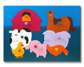 Wooden Peg Puzzle | Old MacDonald Farm Animals
