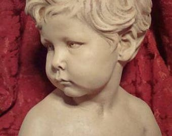 boy child bust sculpture, sculptor Dale, french 19 century stucoplatre patina Earth emme fired