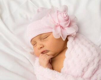 BABY GIRL HAT, newborn hospital hat, newborn girl hat, hospital newborn hat, newborn hat, infant hat, baby hat, baby bow
