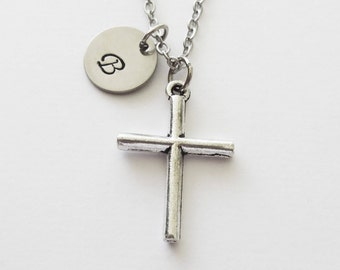 Cross Necklace, Silver Cross, Simple Cross, Christian, Religious, Mom Silver Jewelry, Personalized, Monogram, Hand Stamped, Letter Initial