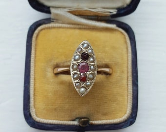 Victorian Ruby and split pearl marquise navette ring - size 7 - antique retro vintage wedding engagement stacking