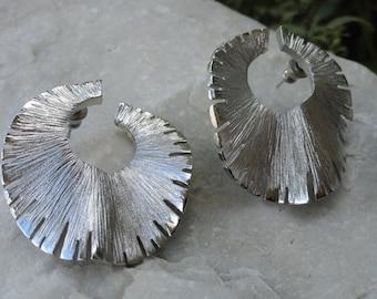 Vintage Silver Ripple Earrings