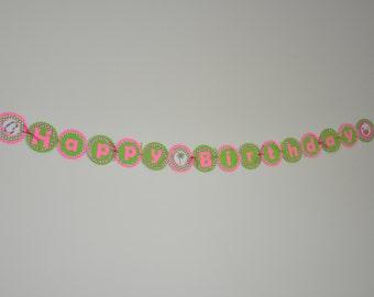 Luau Banner. Birthday Banner. Tiki. Lei. Palm tree. Coconut Drink. Pink. Green.