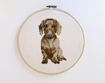 Dachshund - Dog cross stitch pattern - PDF - Instant download