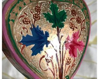 Vintage Papier Mache Trinket Box, Heart Shape, Kashmiri Style, Multicolored Floral, Gilt Trim