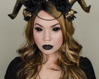 gothic crown - skull headdress - maleficent goth crown - halloween costume