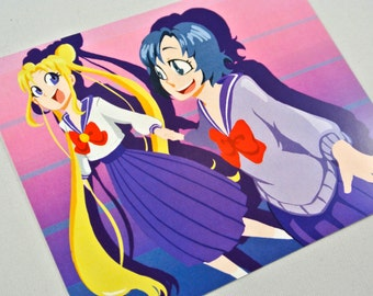 Sailor Moon Mini Print - Usagi and Ami