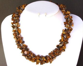 Necklace Tiger Eye Chip Beads Chained Dangle NSTE1418