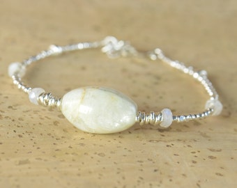 Moonstone and sterling silver Bracelet, June Birthstone , Gemstone Bracelet, Sterling Silver