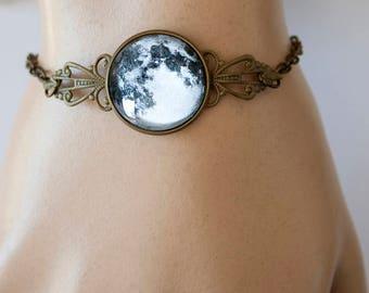 Moon Bracelet, Full Moon, Moon Jewelry, Antique Bronze, Adjustable Bracelet, Luna Bracelet