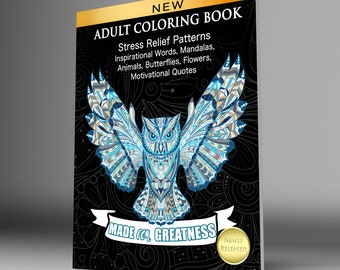 Adult Coloring Book Digital Download PDF, Hand Drawn Coloring Pages For Adults To Print Out, Great Gift! ON SALE Limited Time