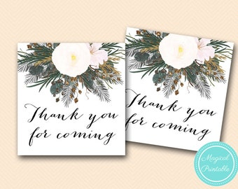 White Floral Thank you tags, favor tags, Bridal shower favors, Baby shower favors, Wedding thank you note BS437 TLC437 SN437