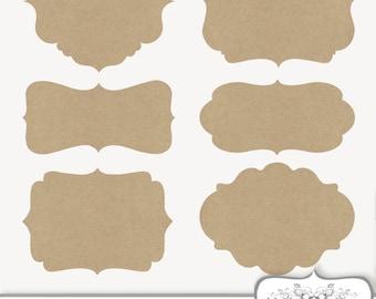 Clip Art Kraft paper Frames Labels tags Digital Frames Digital cardboard clipart brown paper bag frame Border Commercial Use